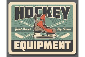 Ice hockey stick, puck and skate