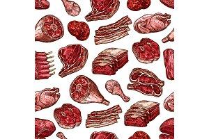 Meat, beef, pork and chicken pattern