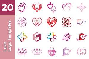 20 Logo Love Templates Bundle