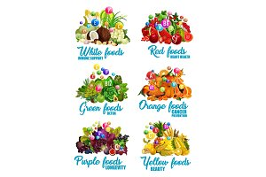 Color food icons of healthy diet