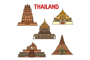 Thai temples and stupa icons. Travel