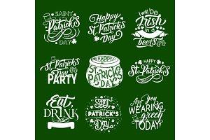 St Patrick Day Irish greeting icons