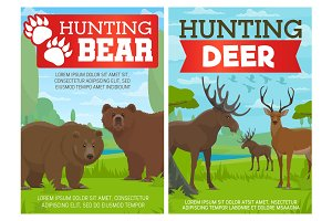 Deer, elk and grizzly bear animals