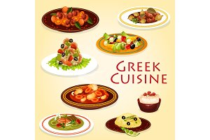 Greek dishes with meat, cheese