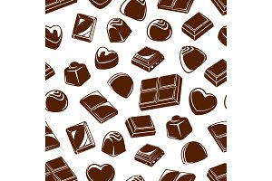 Chocolate candies seamless pattern