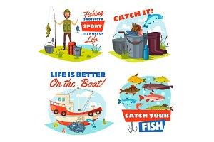 Fisherman, fishing boat and fish