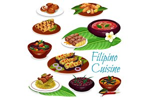 Filipino dishes with meat, seafood
