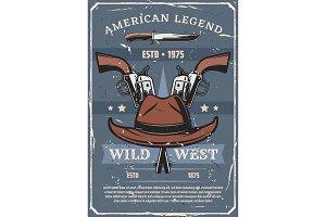 Wild West western cowboy gun and hat