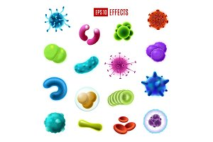 Bacteria cells, germs and viruses