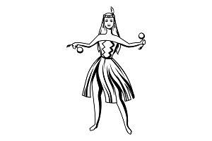 Black and white maori girl dancing.