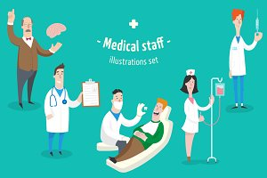 Medical staff, 5 characters