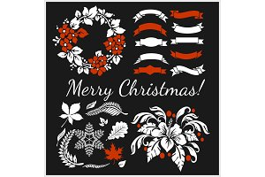 White Christmas design elements
