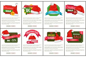 Discounts Tags Santa Claus hats
