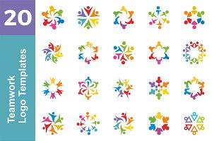 20 Logo Teamwork Templates Bundle