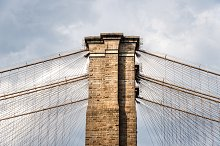 Low angle view of Brooklyn Bridge  by  in Architecture