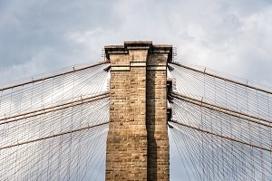 Low angle view of Brooklyn Bridge