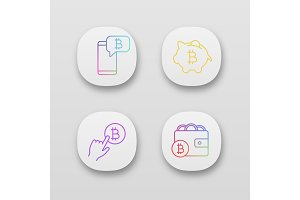 Bitcoin cryptocurrency app icons set