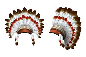 Indian. War bonnet. Vector