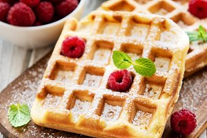 Homemade waffles with berries