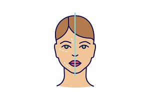 Before, after botox injection icon