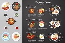 Business lunch menu. Food. Vector