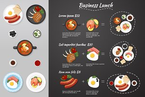 Business lunch menu. Food. Vector