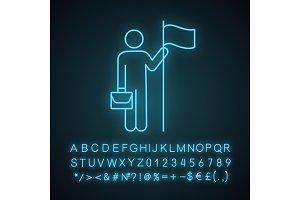 Business achievement neon light icon