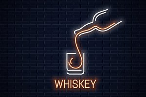 Whiskey glass neon banner.