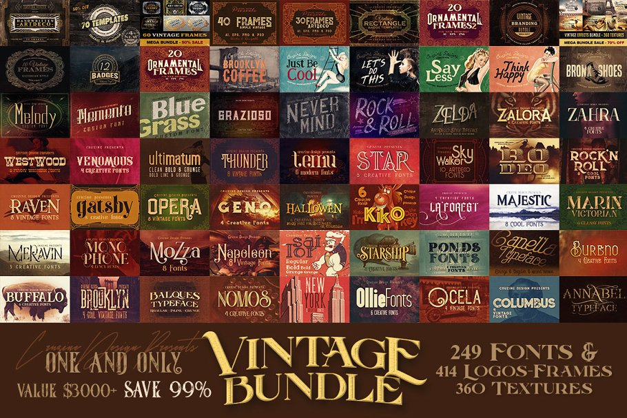 Vintage Bundle 249 Fonts & 414 Logos