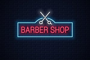 Barber shop neon sign.