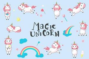 Unicorn cartoon set and patterns