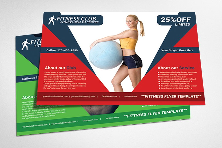Fitness flyer gym flyer templates flyer templates for Fitness brochure template