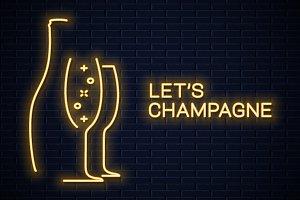 Champagne bottle neon banner.