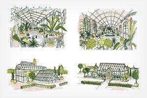 Greenhouse illustration set