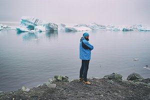 Man near glacier