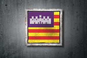 Balearic islands flag in concrete wa