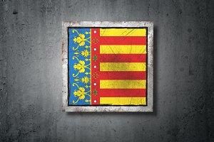 Valencia flag in concrete wall