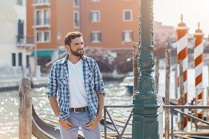 Handsome Tourist Man Travel in