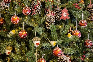 Christmas fir tree with toys.