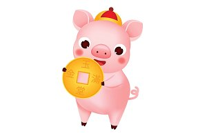 Chinese new year pig with coin