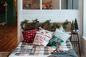 cozy bedroom decorated for Christmas