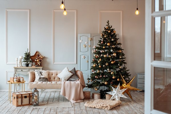 Holiday Stock Photos: Balchugova_photo - living room decorated for Christmas