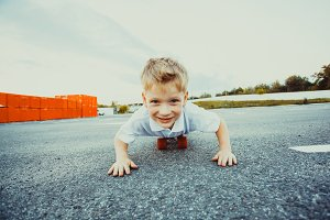 Boy on penny board close-up in the