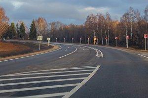 Country highway, freshly repaired, s
