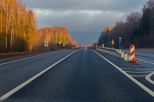 Country highway, freshly repaired, s