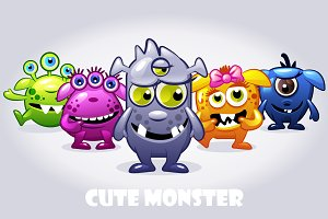 Five cute babies monsters, vectors
