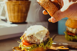Fresh homemade burger on the kitchen