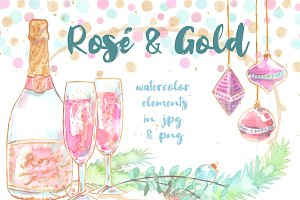 Rose and Gold: festive watercolors