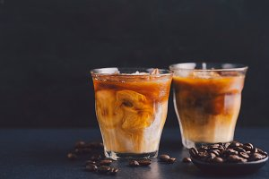 Iced coffee in glasses