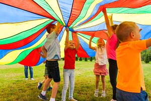 Fun and joy under colorful tent